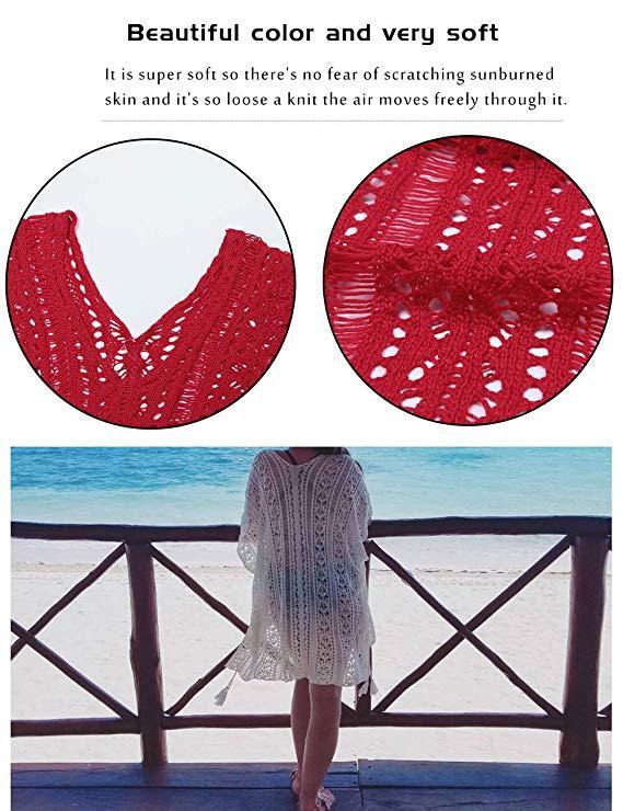Женская пляжная туника красная