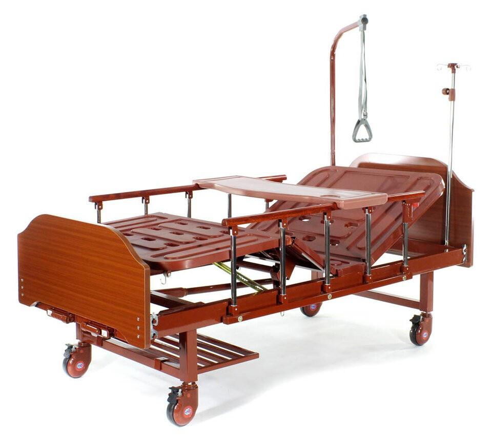 Медицинская кровать Е-8 (2 функции, 4 секции) ЛДСП с полкой и обеденным столиком