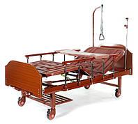 Медицинская кровать Е-8 (2 функции, 4 секции) ЛДСП с полкой и обеденным столиком, фото 1