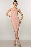 """Модное прилегающее платье длиной до колена """"Лори"""" цвета пудра"""