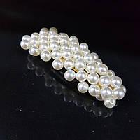 Прикраса для волосся вкрите перлами (шпилька клік клак трикутна) 7 см