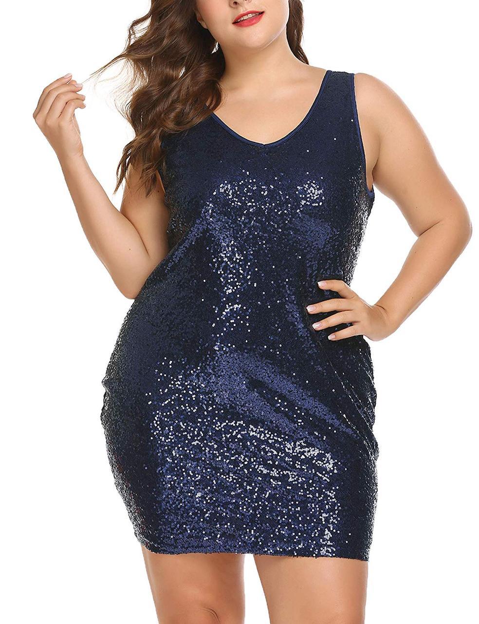 Коктейльное вечернее платье женское  с V-образным вырезом IN'VOLAND мини с пайетками облегающее  синее