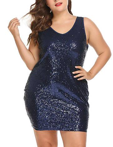 Вечірнє плаття коктейльне жіночий з V-подібним вирізом IN'VOLAND міні з паєтками облягає синє, фото 2
