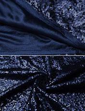 Вечірнє плаття коктейльне жіночий з V-подібним вирізом IN'VOLAND міні з паєтками облягає синє, фото 3