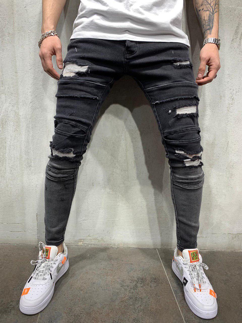 e193aafcf3f Мужские джинсы зауженные темно-серые 4585-1  продажа