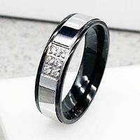 Обручальное кольцо из медицинской стали с шестью циркониями 6 мм 101818