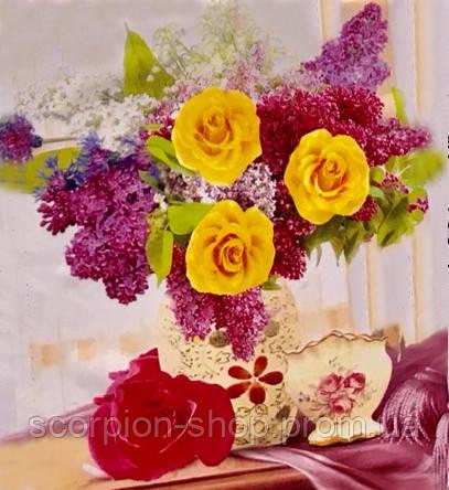 """Алмазная живопись картина """"Сирень и розы"""" (30*40 см) Полная закладка"""