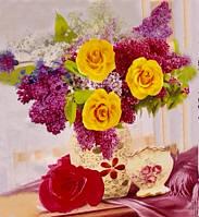 """Алмазная живопись картина """"Сирень и розы"""" (30*40 см) Полная закладка, фото 1"""