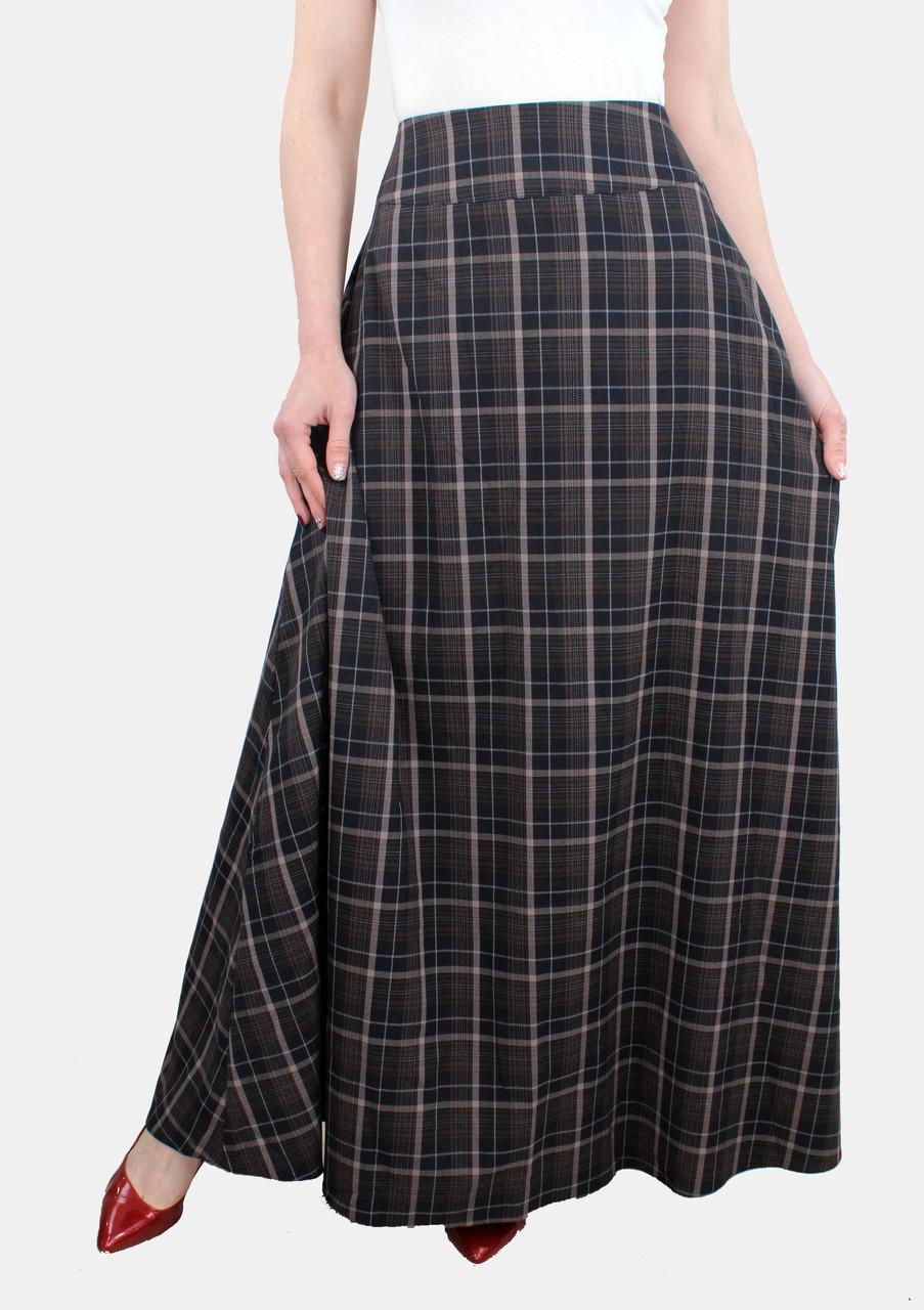Длинная теплая юбка в клетку 46-52 р