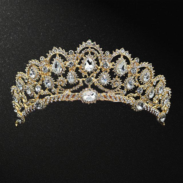 Діадема - Королевська (Золота з білим каменем)