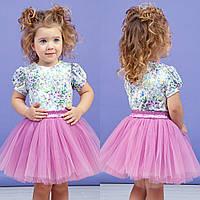 Сиреневый комплект блуза+юбка для девочки zironka