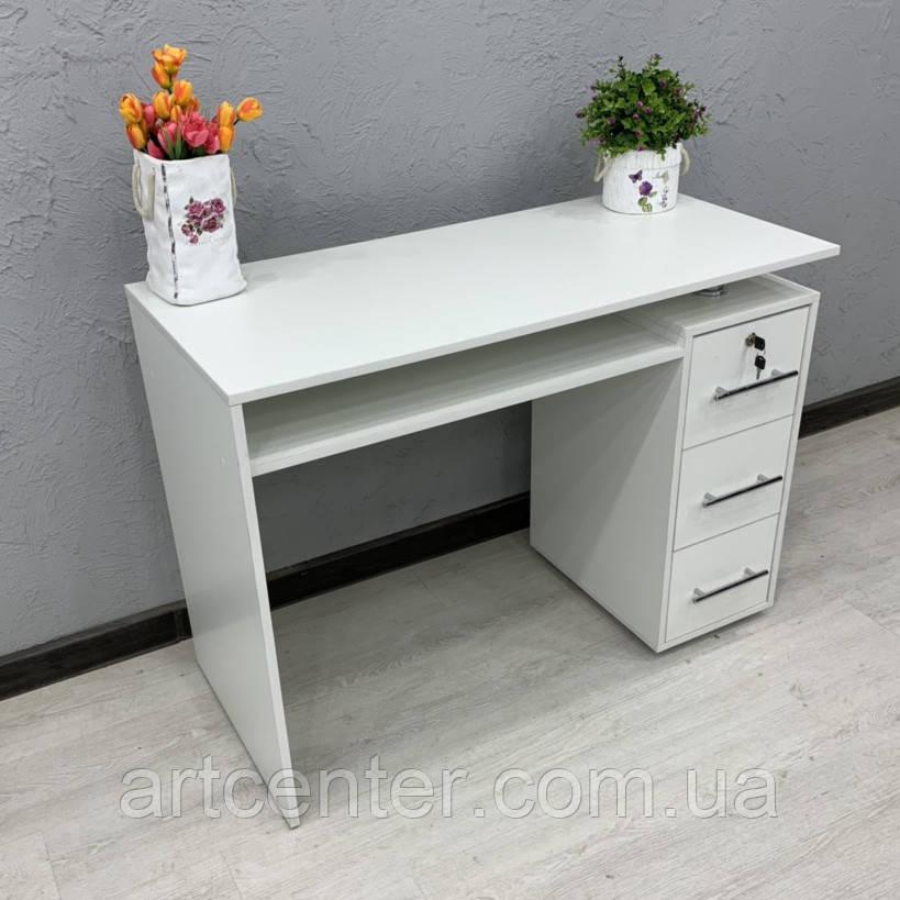 Удобный стол для мастера маникюра, белого цвета