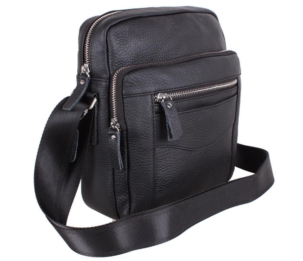 Мужская кожаная сумка Dovhani T2016666 Черная