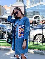 Пиджак женский стильный джинсовый удлиненный с принтом Pvv164