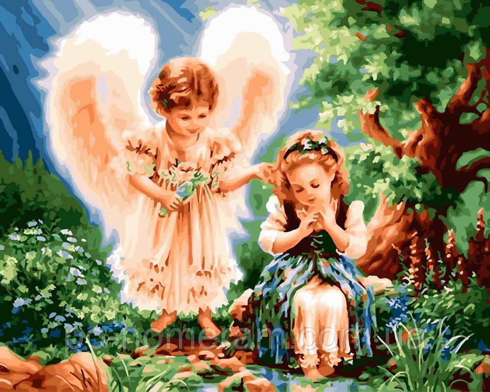 Картина по номерам Ангел и девочка (BK-GX24224) 40 х 50 см (Без коробки)