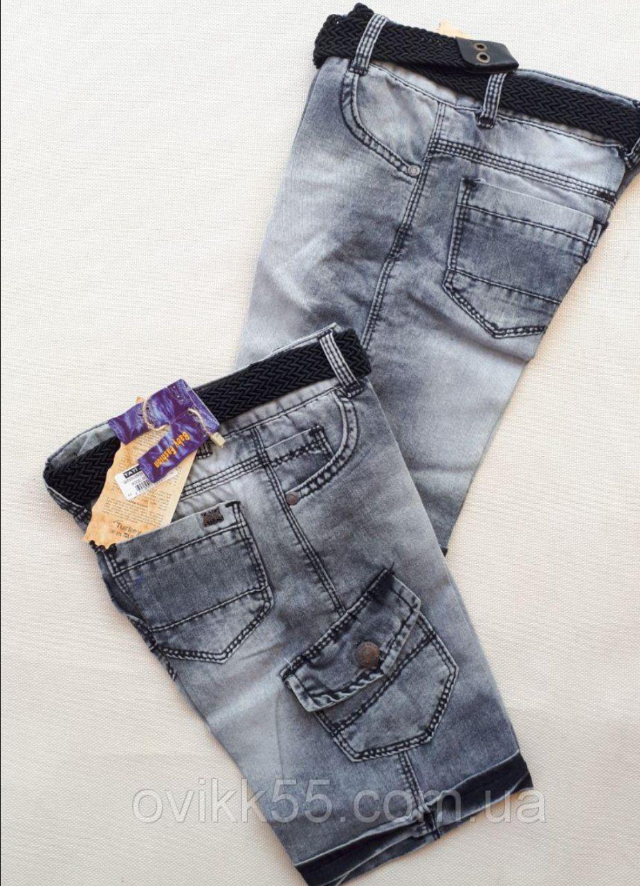 Детские капри на мальчика джинсовые  с карманом  3-7