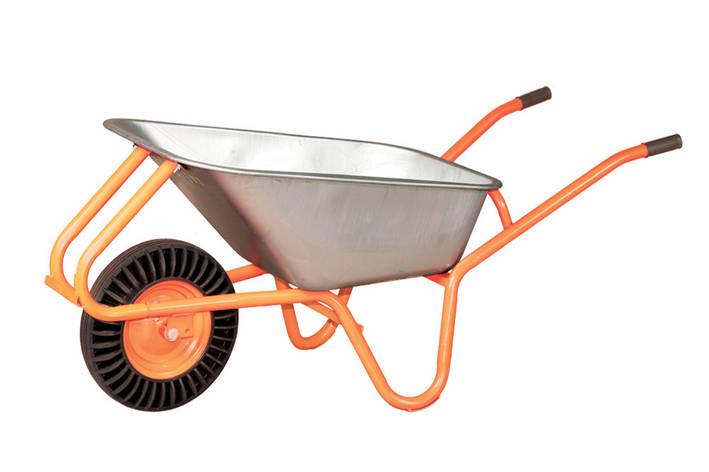 Тачка садово-строительная 1-колесная(каучуковое колесо) 100л 180кг Vitals, фото 2