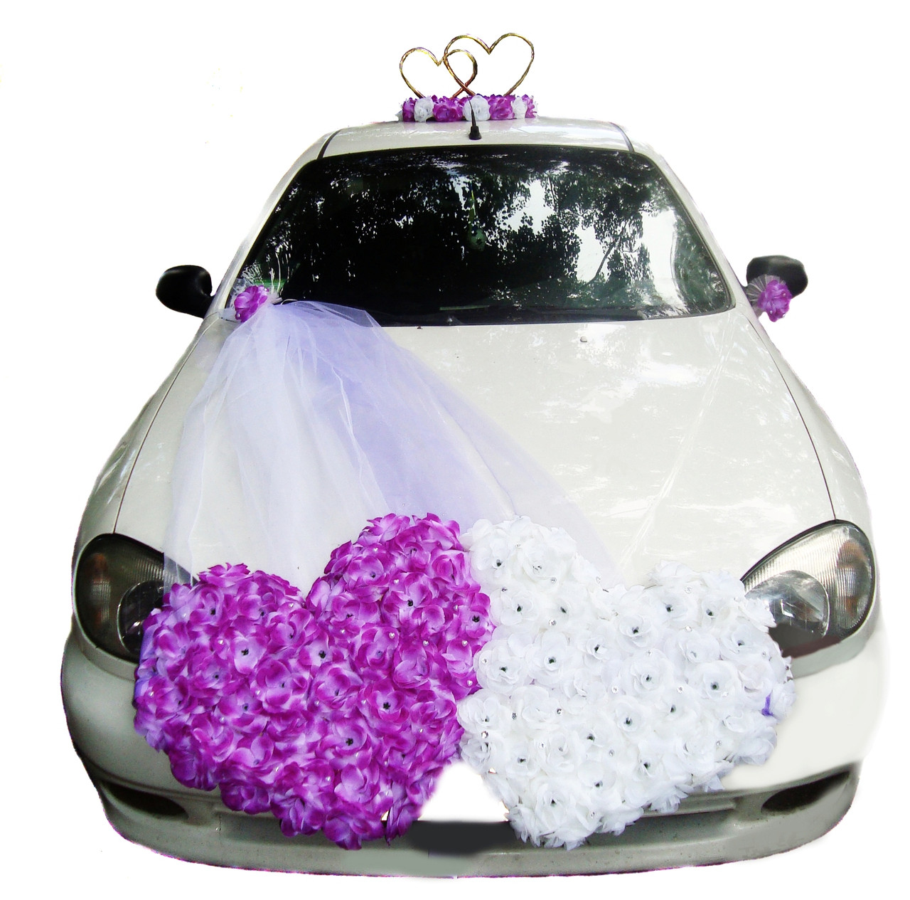 """Свадебные украшения на машину """"Двойные сердца +сердца на магните"""""""