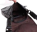 Мужская кожаная сумка Dovhani BL800667 Черная, фото 7