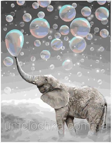 Картина по номерам Слон в пузырях 40 х 50 см (BRM25298)