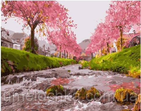 Картина по номерам Река у сакуры 40 х 50 см (BRM25577)