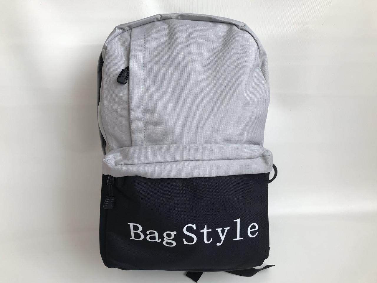 Рюкзак молодежный текстильный серый с черным
