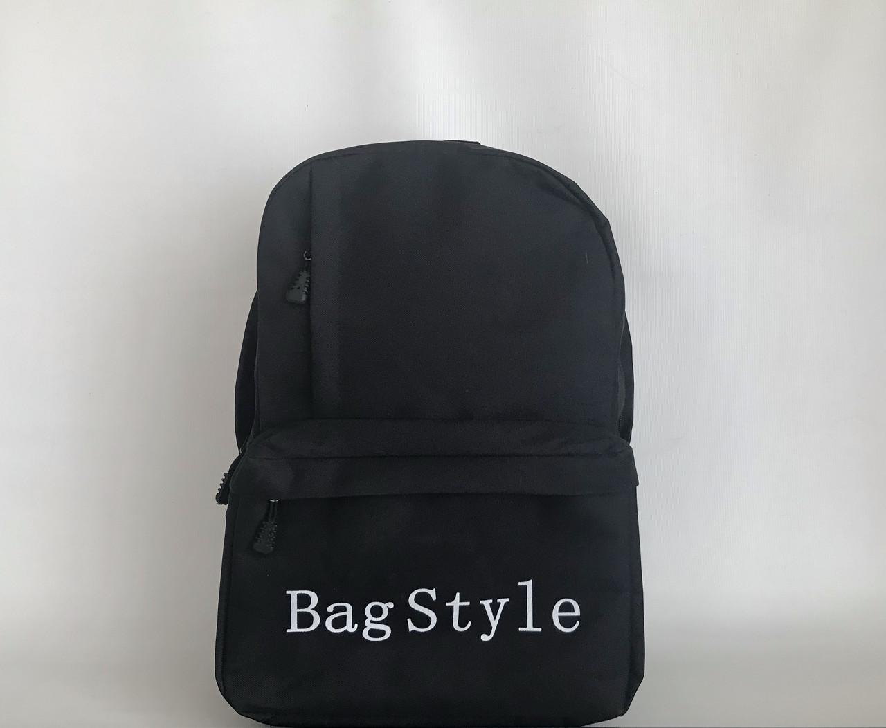 Черный рюкзак текстильный вместительный спортивный