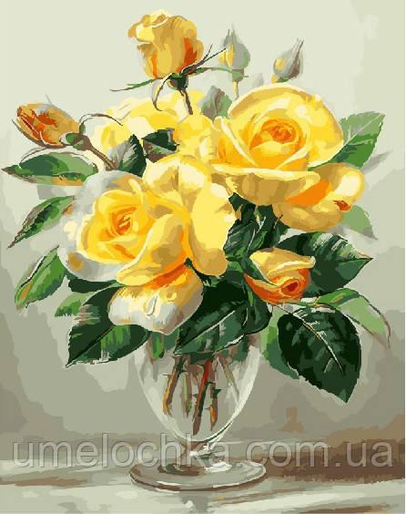Картина по номерам Желтые розы 40 х 50 см (BRM25322)