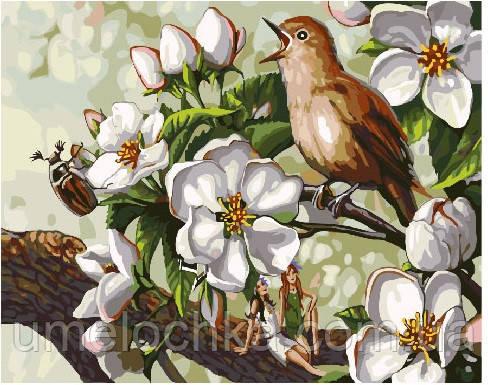 Картина по номерам Пение птицы в цветах 40 х 50 см (BRM25294)