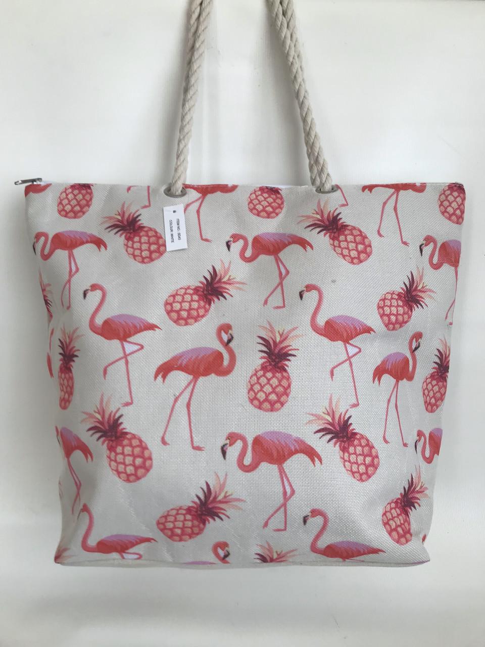 Летняя пляжная льняная сумка с ананасами и фламинго