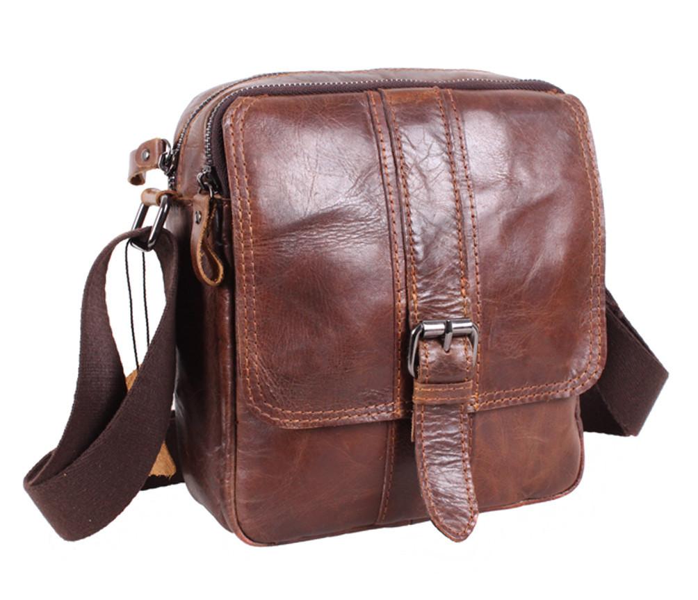 Мужская кожаная сумка Dovhani BR5296-112 Коричневая