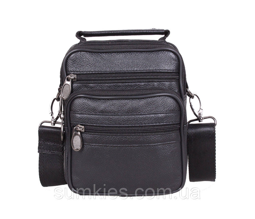 Мужская кожаная сумка Dovhani 1-501015 Черная