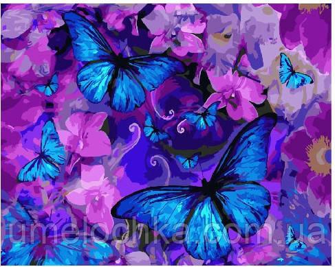 Картина по номерам Магические бабочки в цветах 40 х 50 см (BRM25148)