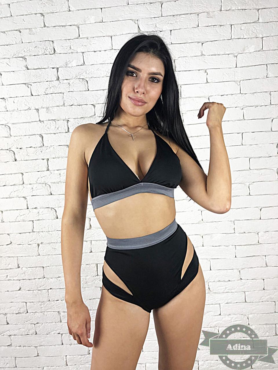 58441d8beaea5 Модный женский раздельный купальник на резинках с высокими плавками ...