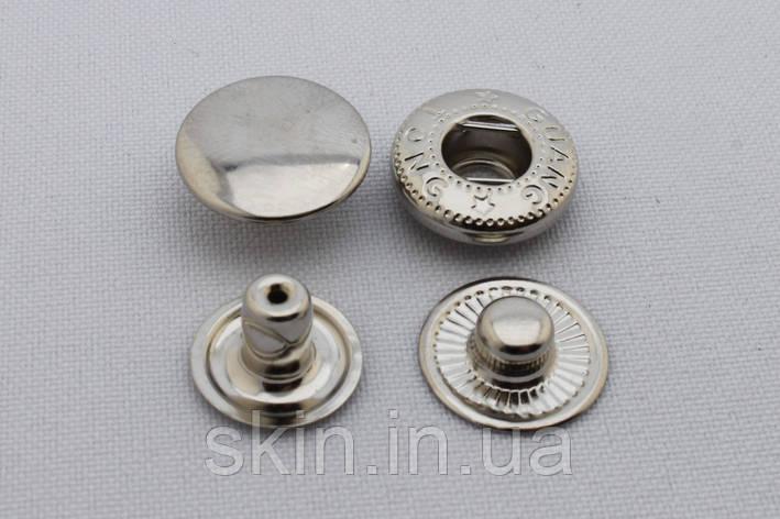 Кнопка альфа, диаметр шляпки - 15 мм, диаметр ножки - 6 мм., цвет - никель, в упаковке - 20 шт., арт. СК 5017, фото 2