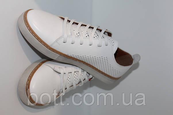 Кеды кожаные белые летние унисекс, фото 3