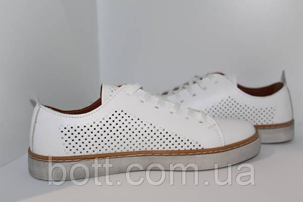 Кеды кожаные белые летние унисекс, фото 2