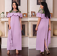 Красивое женское платье в пол под пояс с отделкой сетки с вышивкой 48, 50, 52-54, 56-58, 60-62