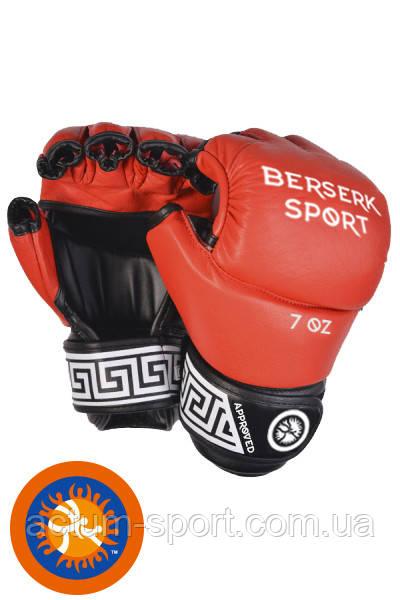 Перчатки кожаные для смешанных единоборств BERSERK FULL for Pankration approved UWW 7 oz red
