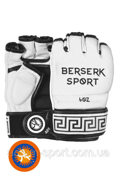 Перчатки кожаные для смешанных единоборств BERSERK TRADITIONAL for Pankration approved UWW 4 oz white