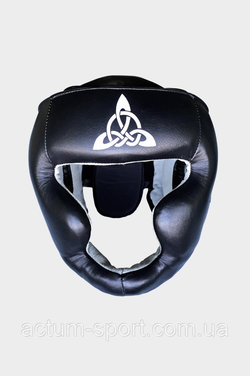 Шлем для бокса тренировочный BERSERK SCANDI-FIGHT (кожа) black/white