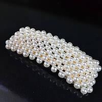 Прикраса для волосся вкрите перлами (шпилька клік клак квадратна) 6,5 см