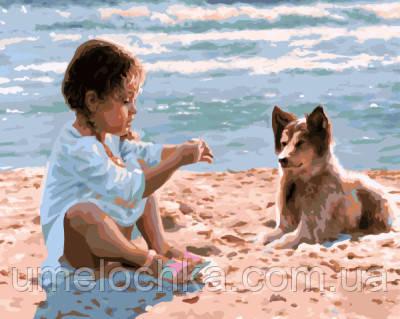 Картина по номерам Девочка с собакой на пляже 40 х 50 см (BRM7963)