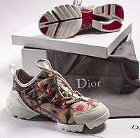 Женские летние кроссовки Dior D-CONNECT с принтом. Живое фото. Топ реплика ААА+