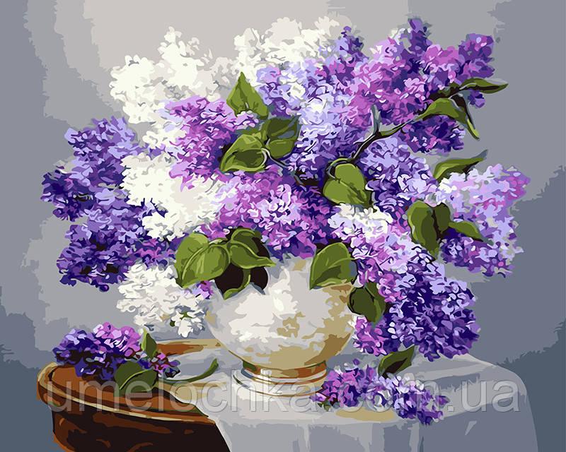 Картина по номерам Сирень в белой вазе 40 х 50 см (BRM3052)