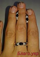 Комплект ЗАР-10 из серебра с золотыми накладками - Серьги и кольцо