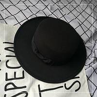 Шляпа женская канотье с широкими полями черная