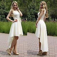Асимметричное женское платье с поясом