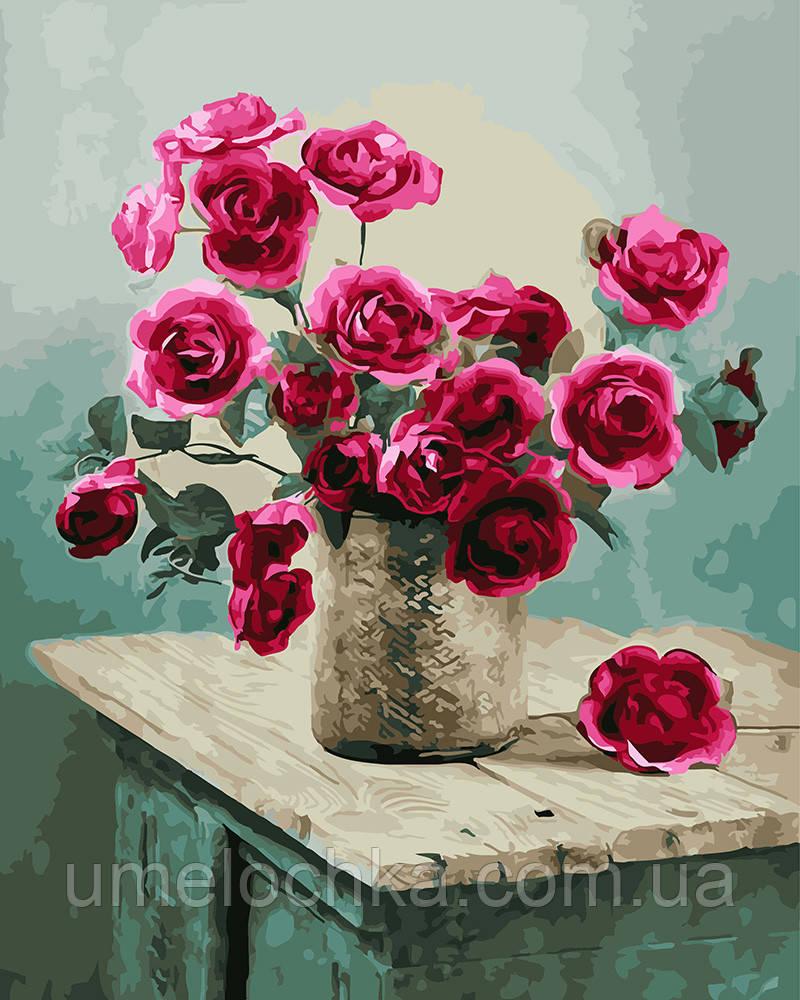 Картина по номерам Букет роз на комоде 40 х 50 см (BRM22758)