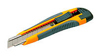 Нож пласт. автозамок 2 лезвия 18 мм с накладками MasterTool 17-0119